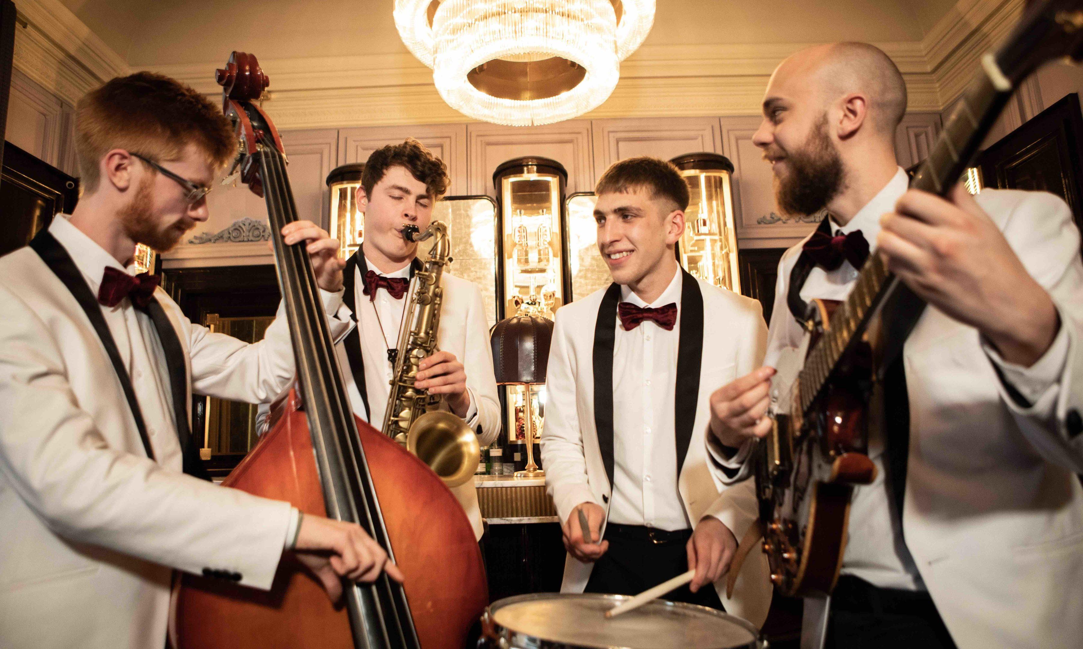 The Gleneagles Ensemble. Jazz students (from left) Mark Hendry Matt Carmichael Dominykas Snarskis and Tom Stephenson. Pic  Robbie McFadzeanRCS_