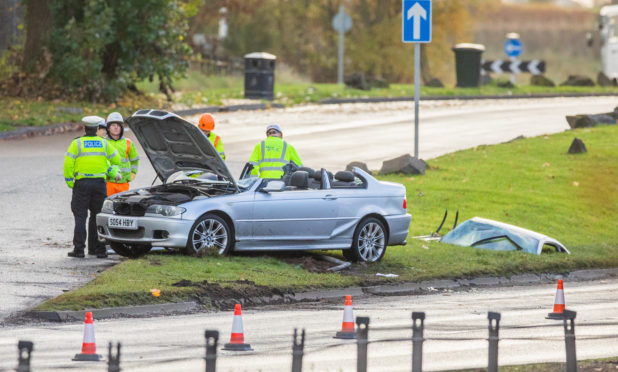 A crash on the A90 at the Swallow Roundabout in 2018