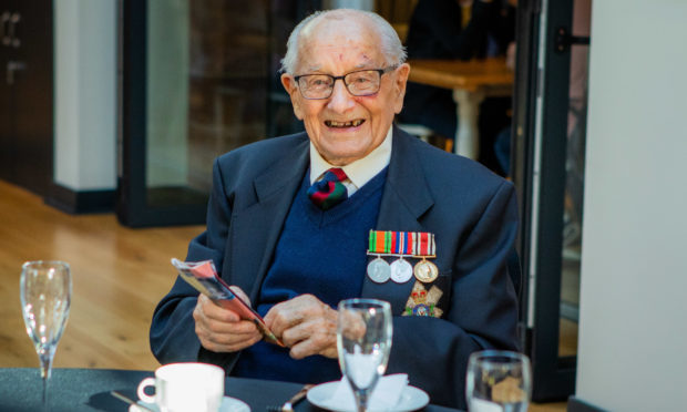 Georgie Reid celebrating his 100th birthday at The Black Watch museum