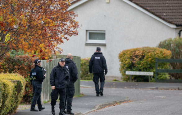 Police carrying out door to door inquiries in Crieff during the search.