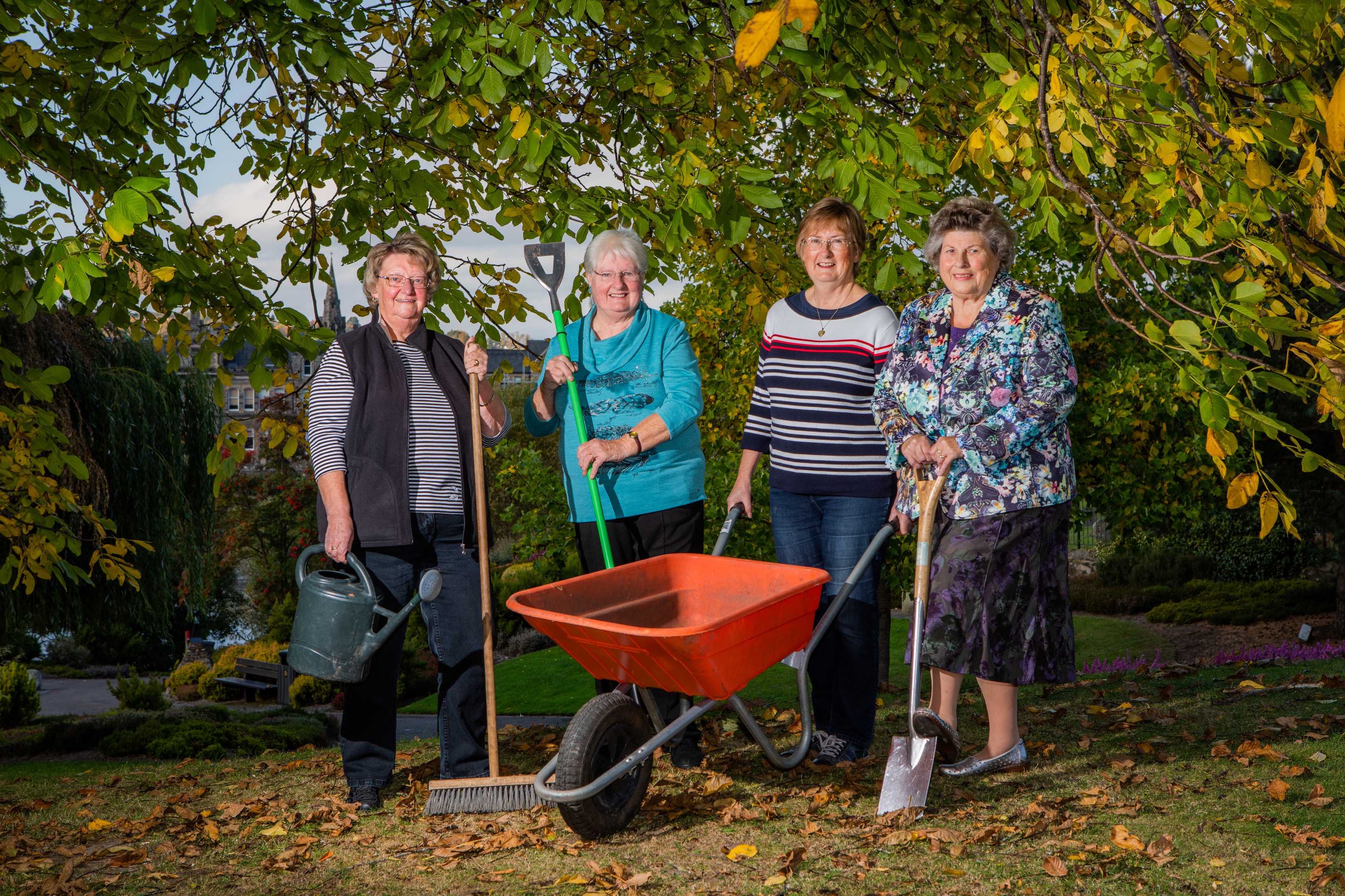 Members of the Royal Horticultural Society of Perthshire are appealing for new members to save the 200-year-old society. From left: Pat Scotland, Barbara McDonald, Gillian Sharp and Vera Taylor.