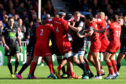 Tempers flare again in the Heineken Champions' Cup game between Glasgow and Saracens at Scotstoun.