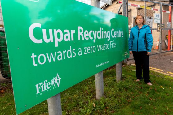 Councillor Margaret Kennedy outside the Coal Road recycling centre in Cupar.