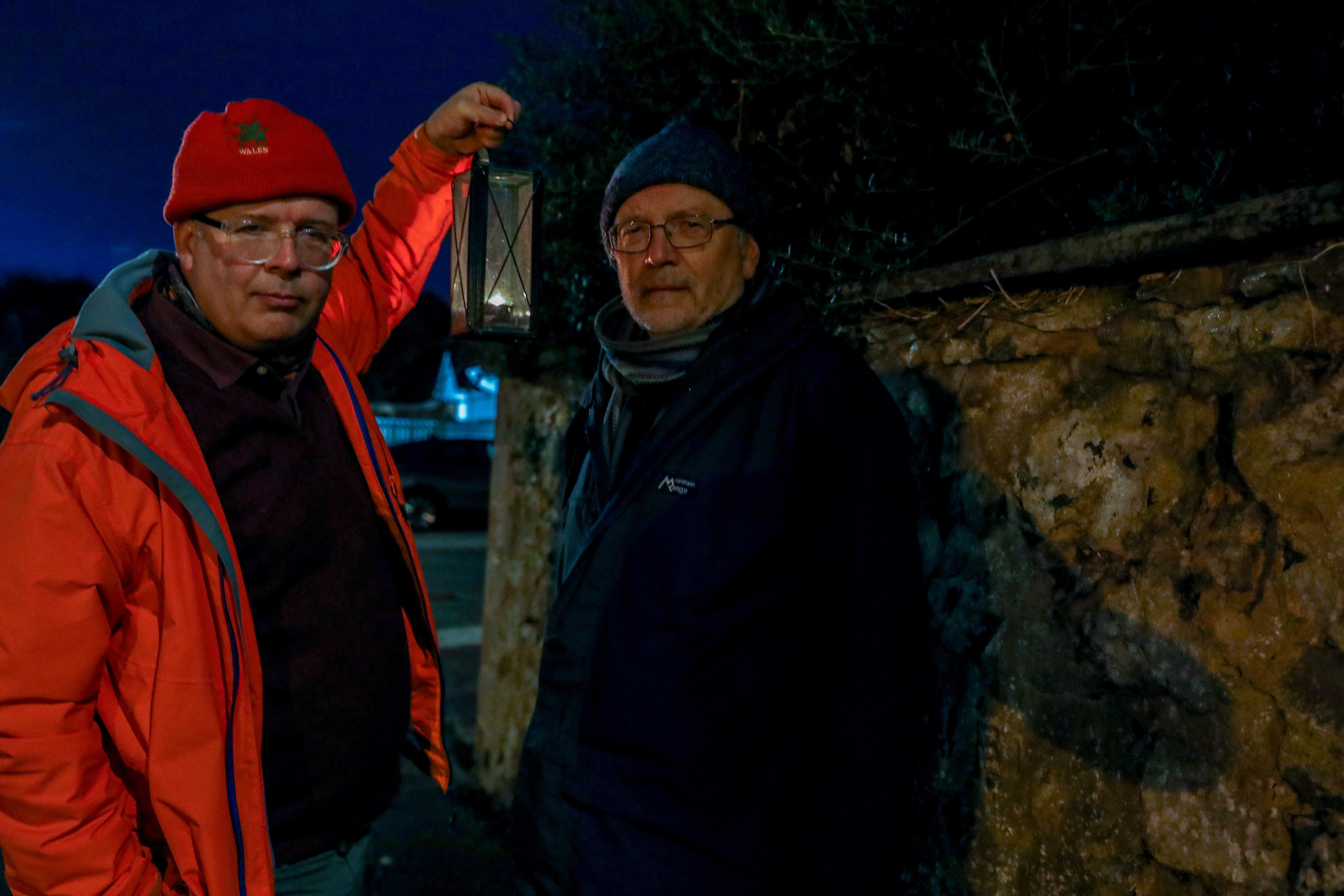 Cllr Jonny Tepp & Cllr Tim Brett in Richard Street, Newport where street lighting problems have been ongoing