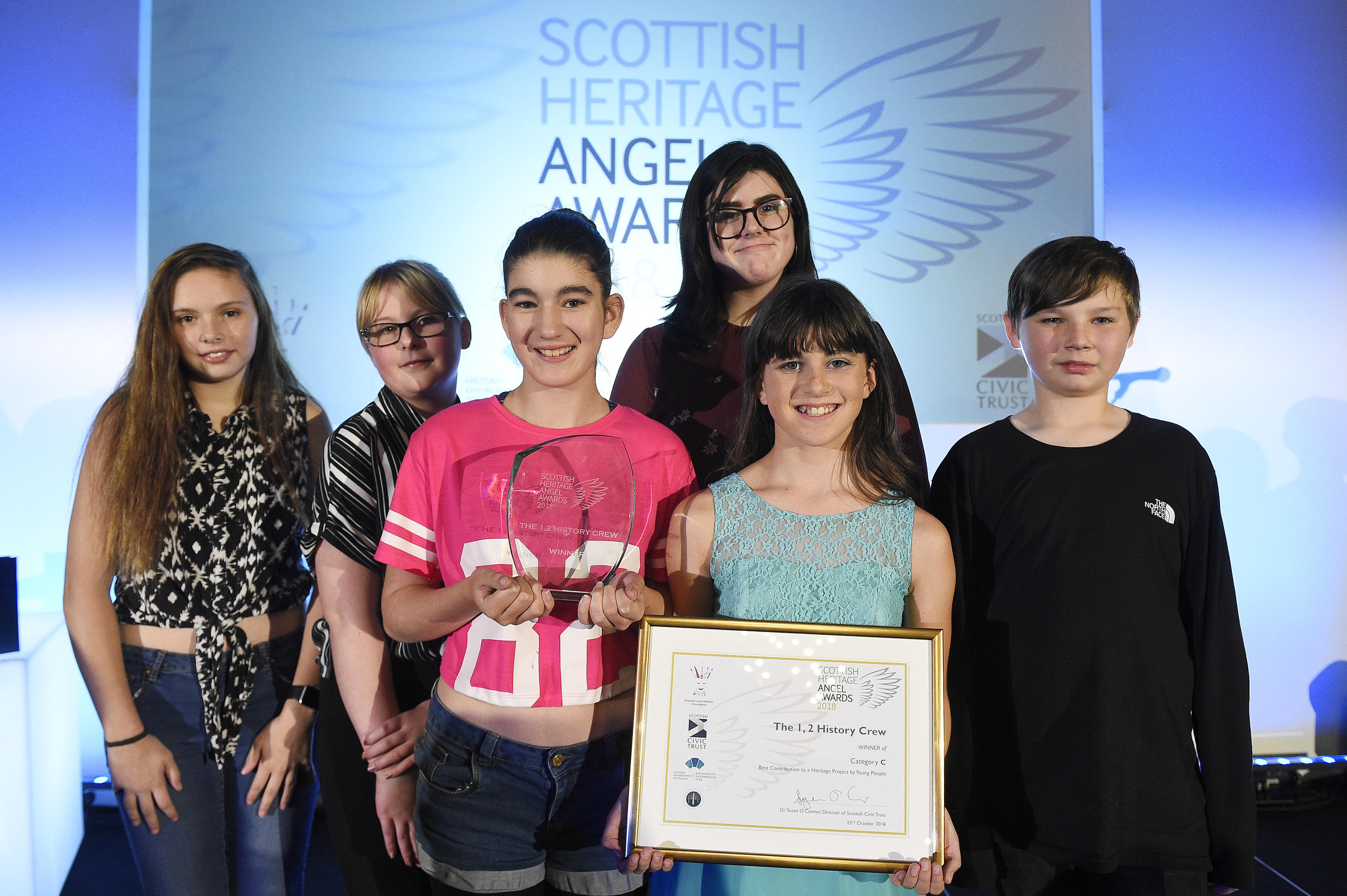 The triumphant 1,2 History Crew from Arbroath Academy