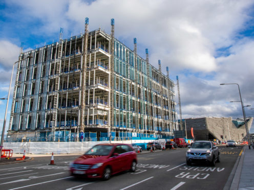 The development under construction at Site Six opposite the V and A Dundee