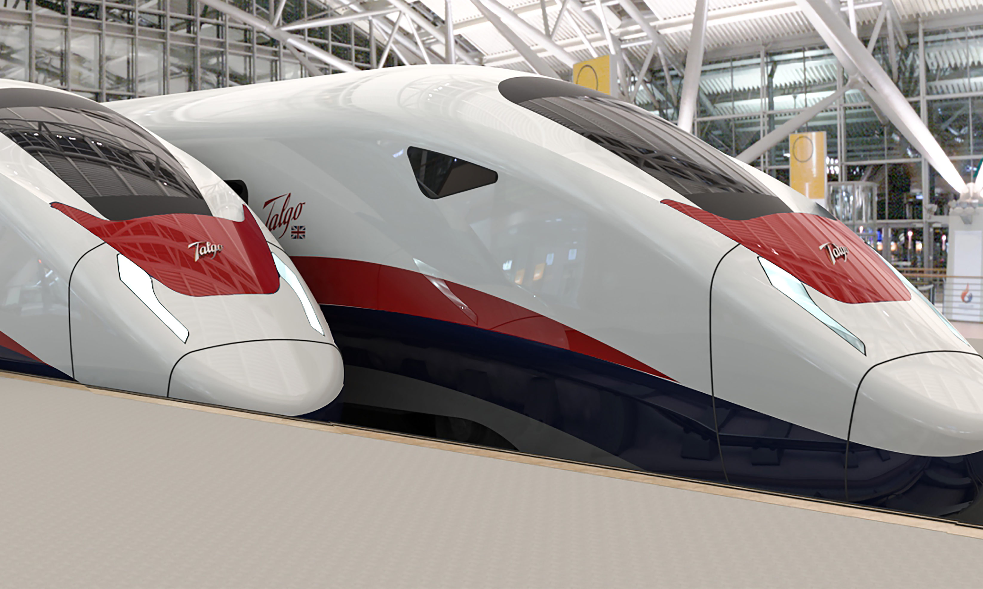 An artist's impression of Talgo's new AVRIL UK train, that could be seen on some of Britain's future High Speed Railway lines.