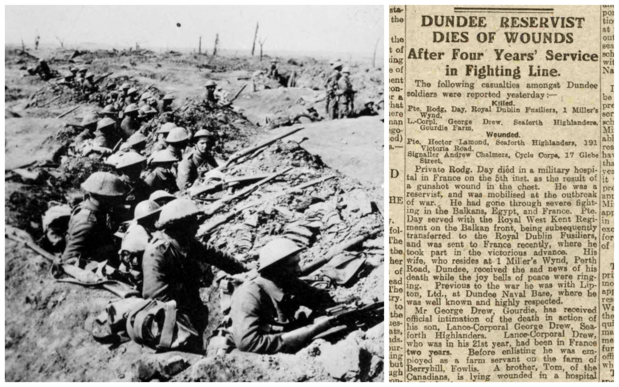 British troops (credit: PA Archive/Press Association) and the article as it appeared in 1918