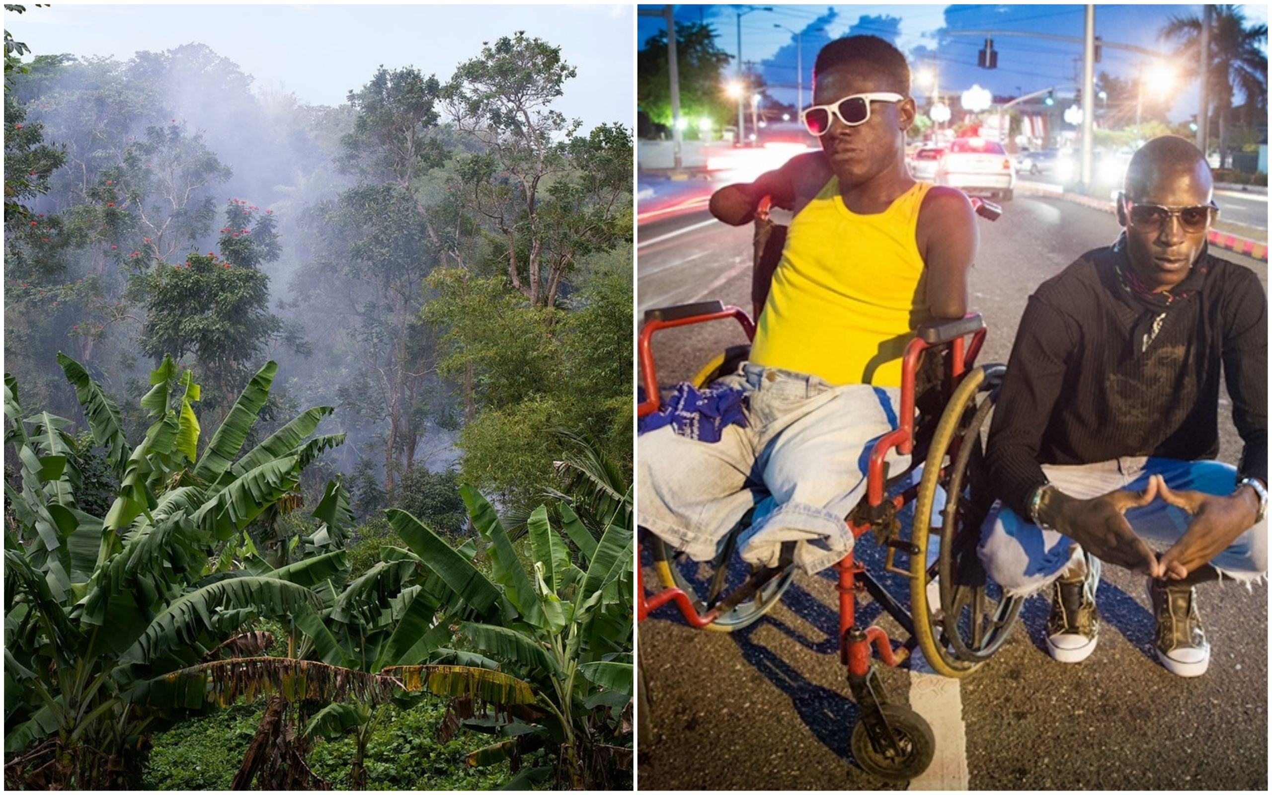 Stephen McLaren, Jamaica: A Sweet Forgetting - View through the Blue Mountains, Jamaica (left) and Varun Baker, Journey 1 - Joshua (centre) and friend on a central Kingston street, Jamaica