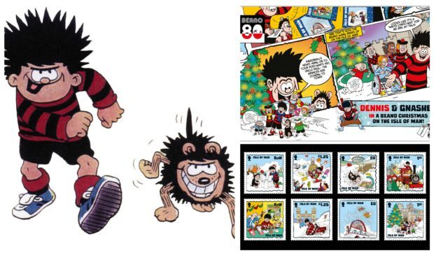 Dennis the Menace and Gnasher are being immortalised in stamps on the Isle of Man.