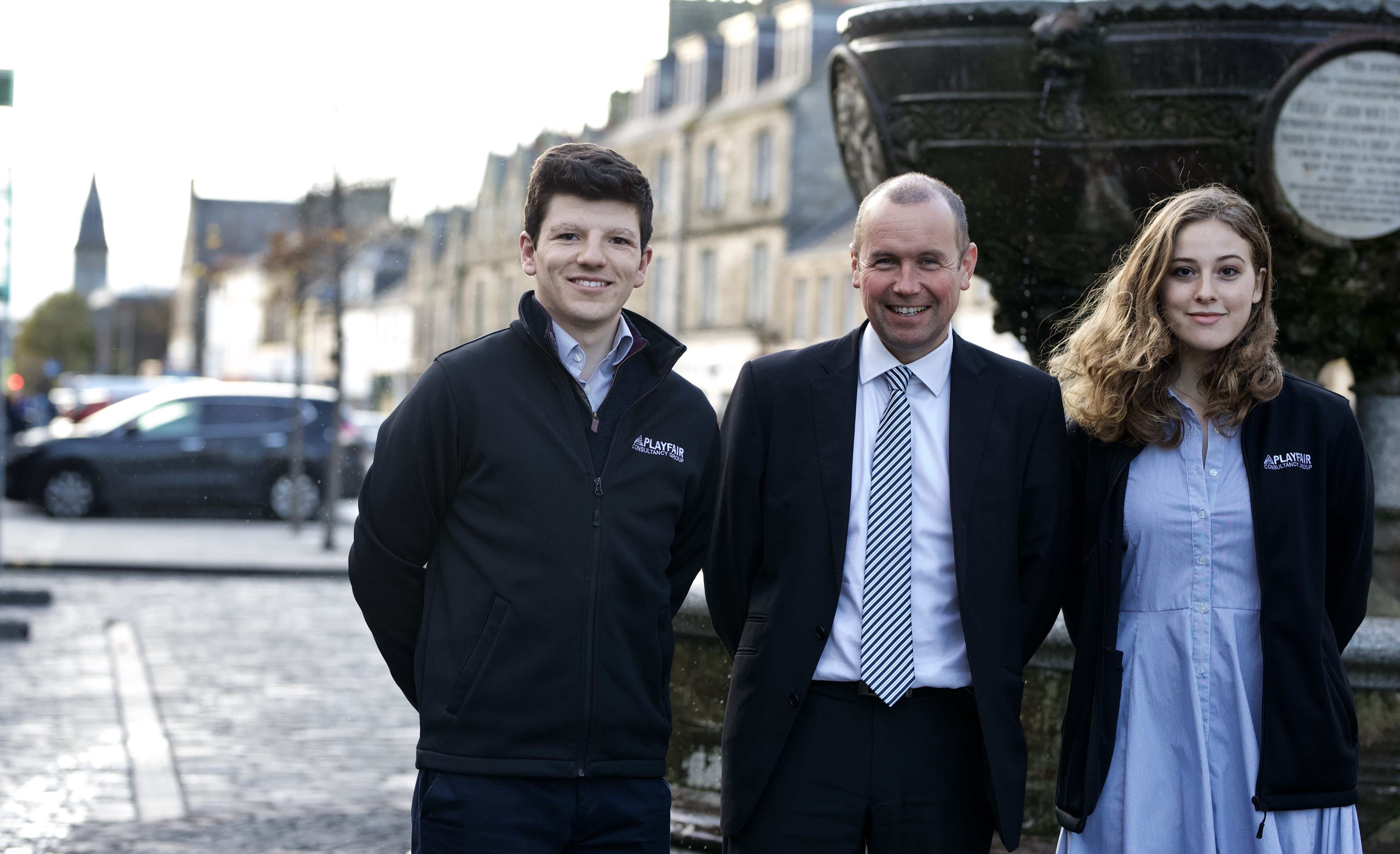 Brian Thomson (centre) with Frazer Towers and Rose Meier from Playfair Consultancy Group