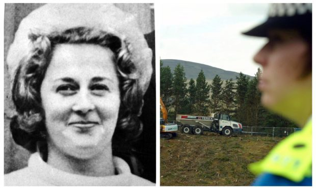 Renee MacRae (pictured) when missing more than 40 years ago. Left: Dalmagarry Quarry is searched by police as part of investigations in years gone by.