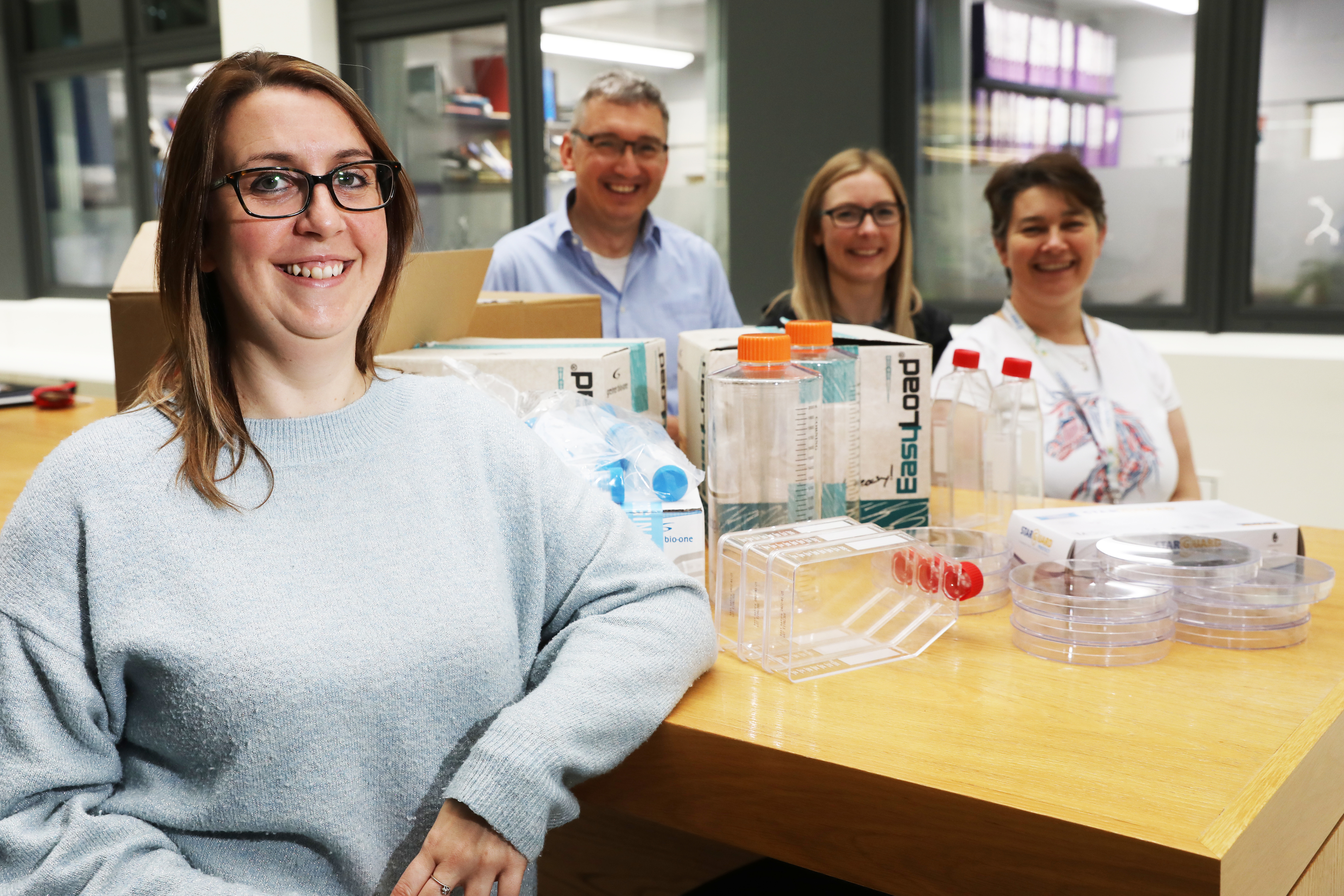Suze Farrell, Darren Edwards, Lauren Webster and Sandra O'Neill from the University's Wellcome Centre for Anti-Infectives Research.