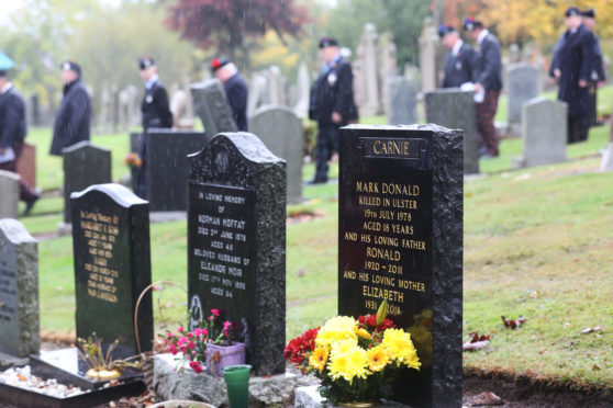Mark Carnie from Brechin died while serving with the Queen's Own Highlanders in 1978.