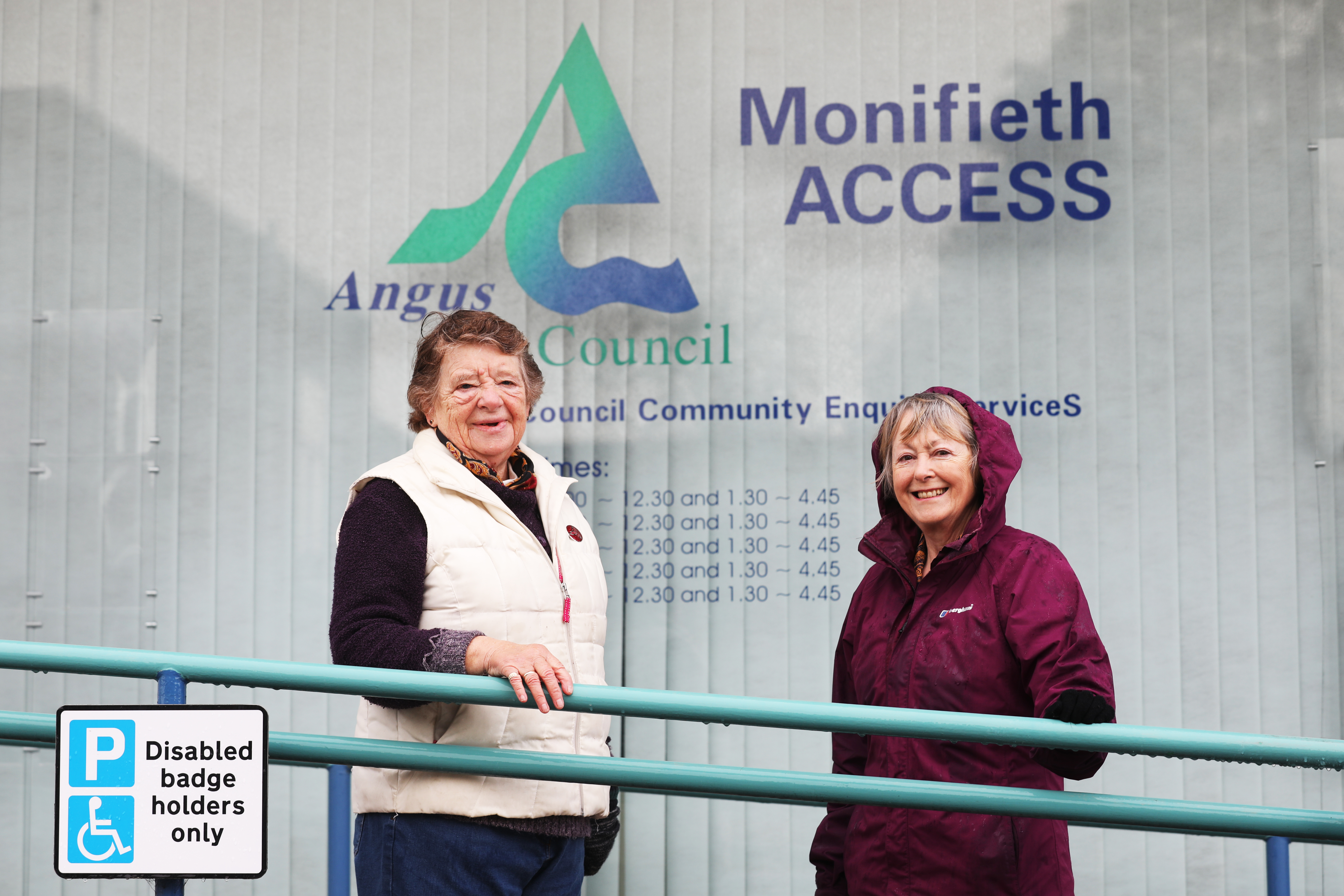 Margaret Copland, president of Monifieth Local History Society, and Marianne Buultjens, acting secretary, outside the former Access office.