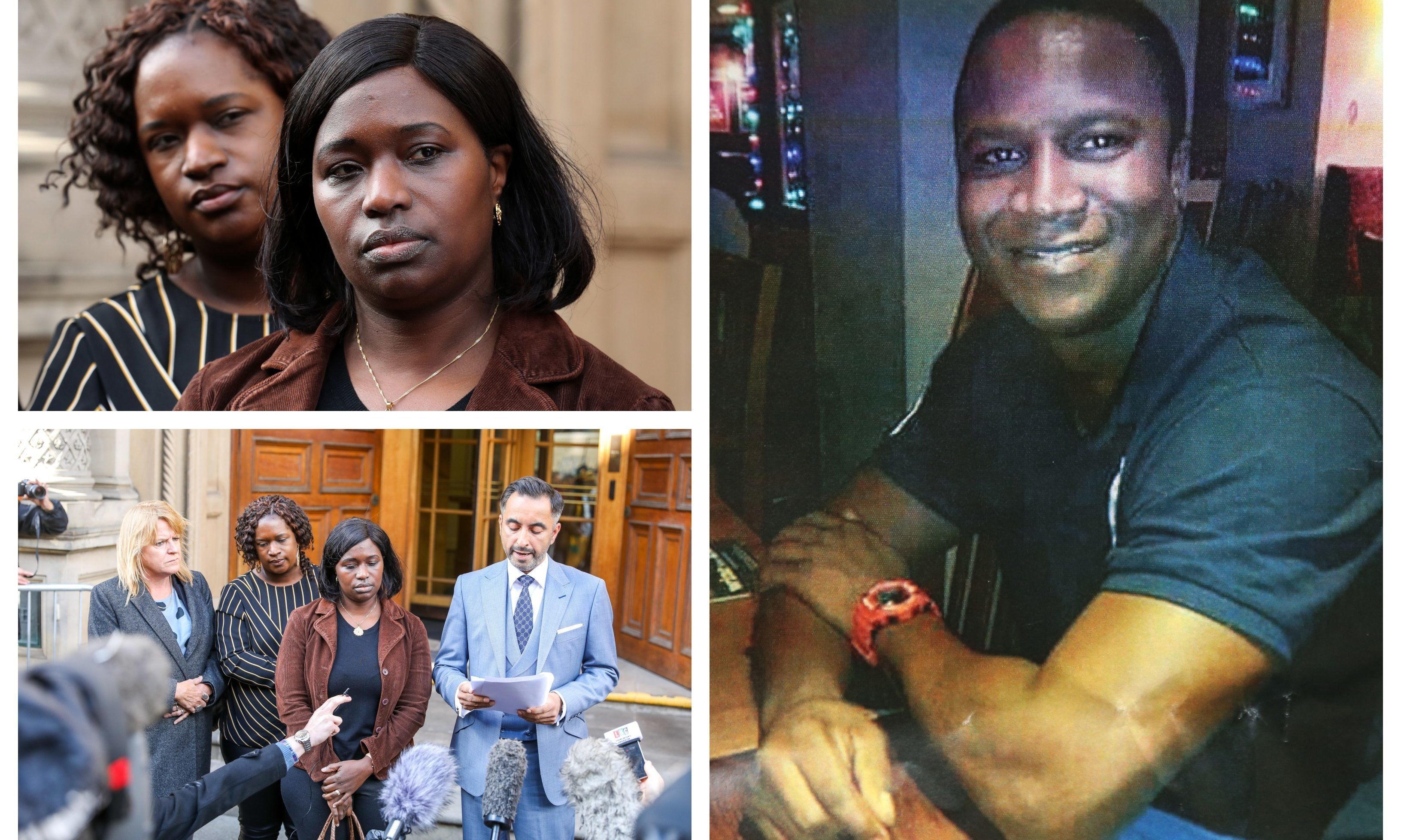 Right: Sheku Bayoh. Left: Kadi Johnson and the family in Edinburgh with Aamer Anwar.