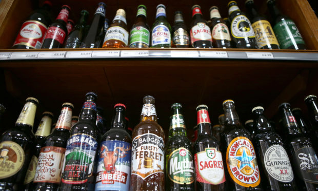 Alcohol for sale in Scottish off-licence shop.