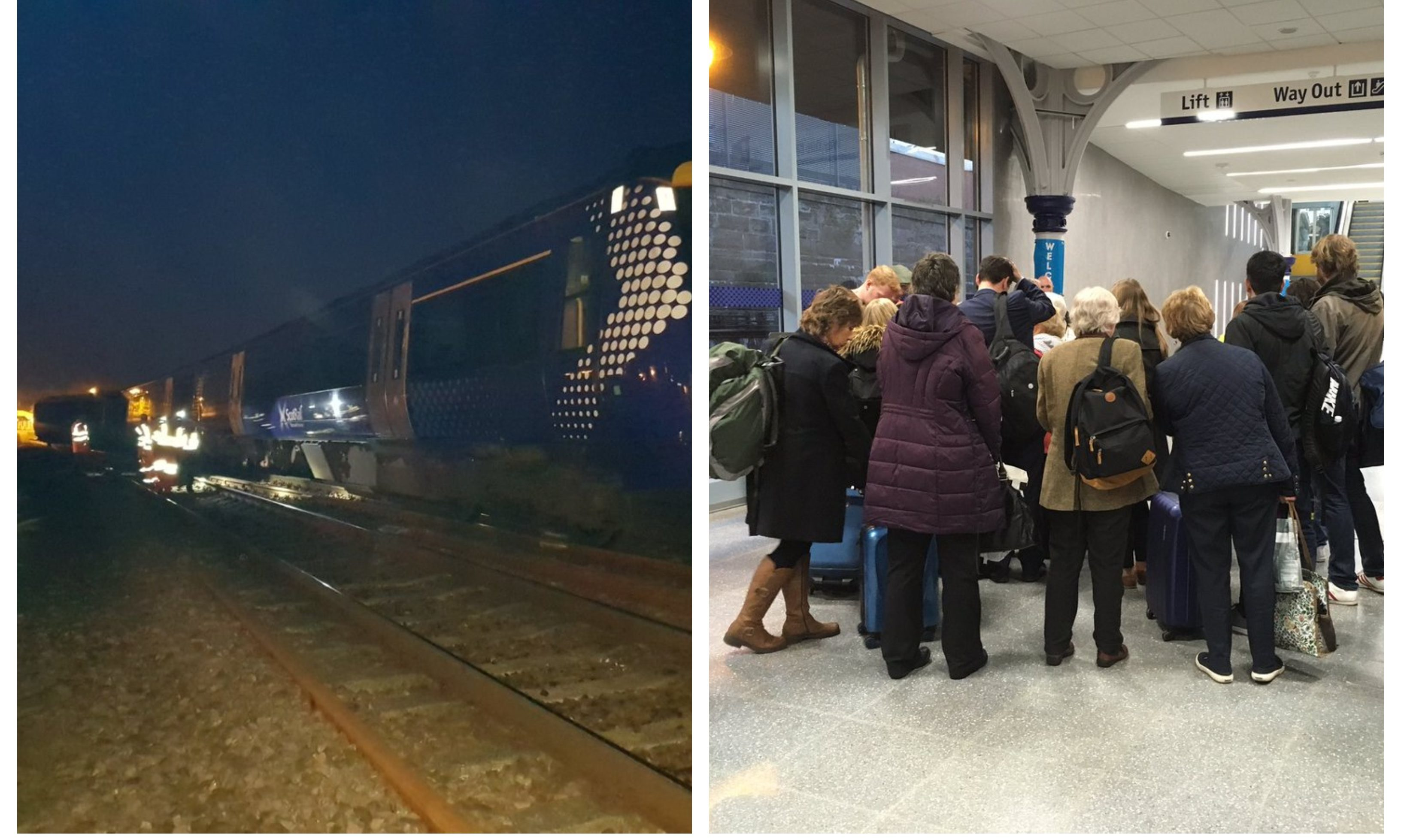 A photo from the scene near Stonehaven/passengers gathered following the cancellations at Dundee Station.