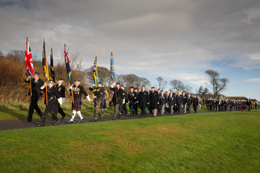 The Remembrance parade and laying of wreaths at Arbroath's War Memorial.