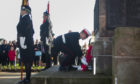 Remembrance parade and laying of wreaths at Arbroath's War Memorial  Pic shows  Pic Paul Reid