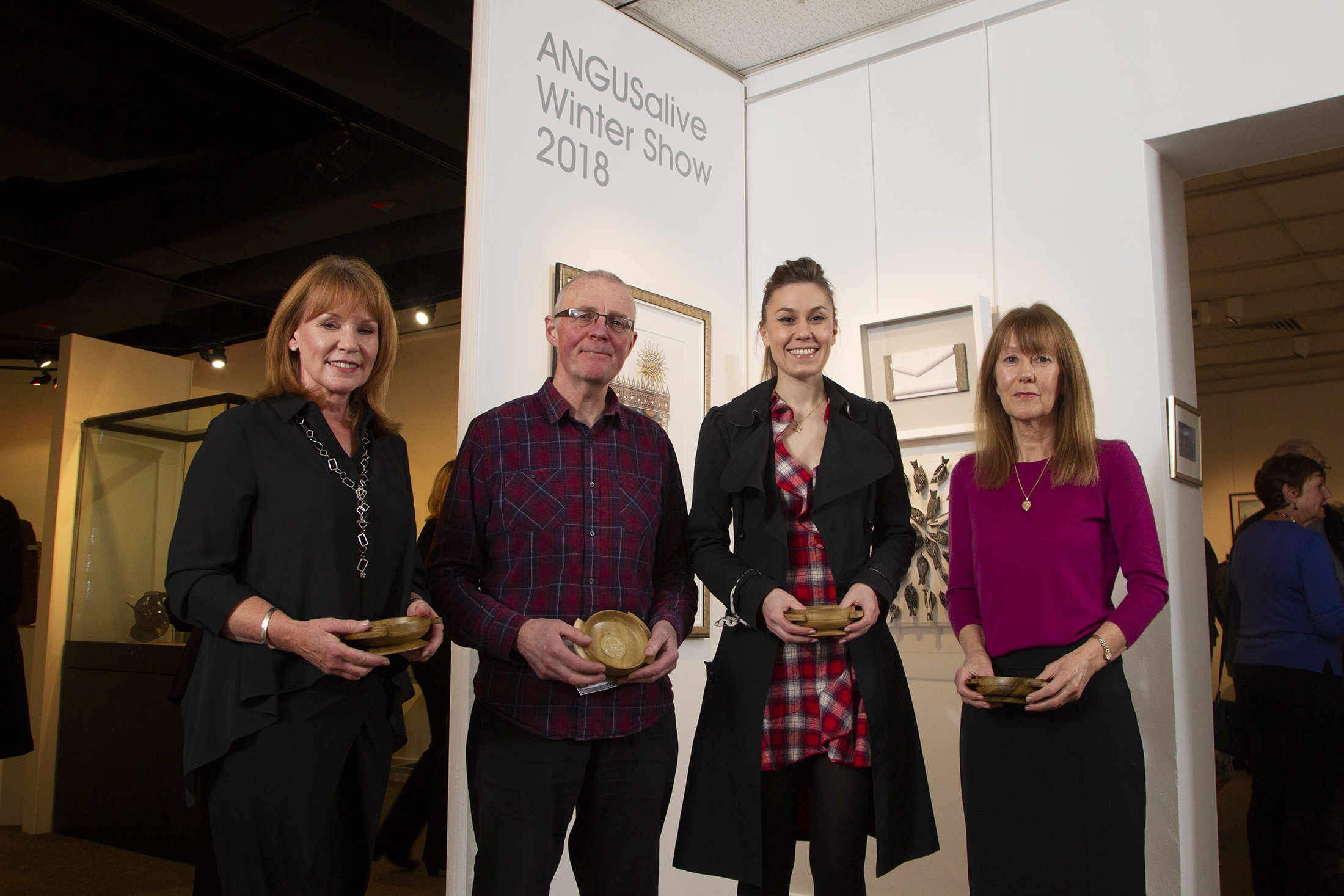 At the unveiling of the winter show (from left)  Christine Wylie, Bruce Shaw, Grace Maran  and Barbara Anne Morton