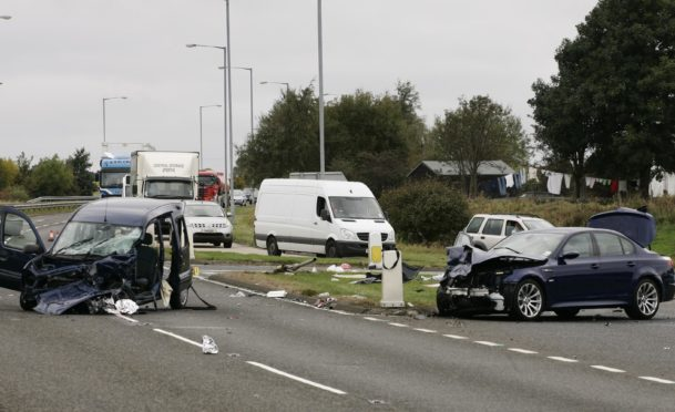 An accident at the Blackford crossing on the A9.