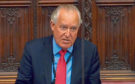 Lord Hain speaking in the House of Lords in London naming Topshop owner Sir Philip Green as the businessman behind an injunction against the Daily Telegraph.
