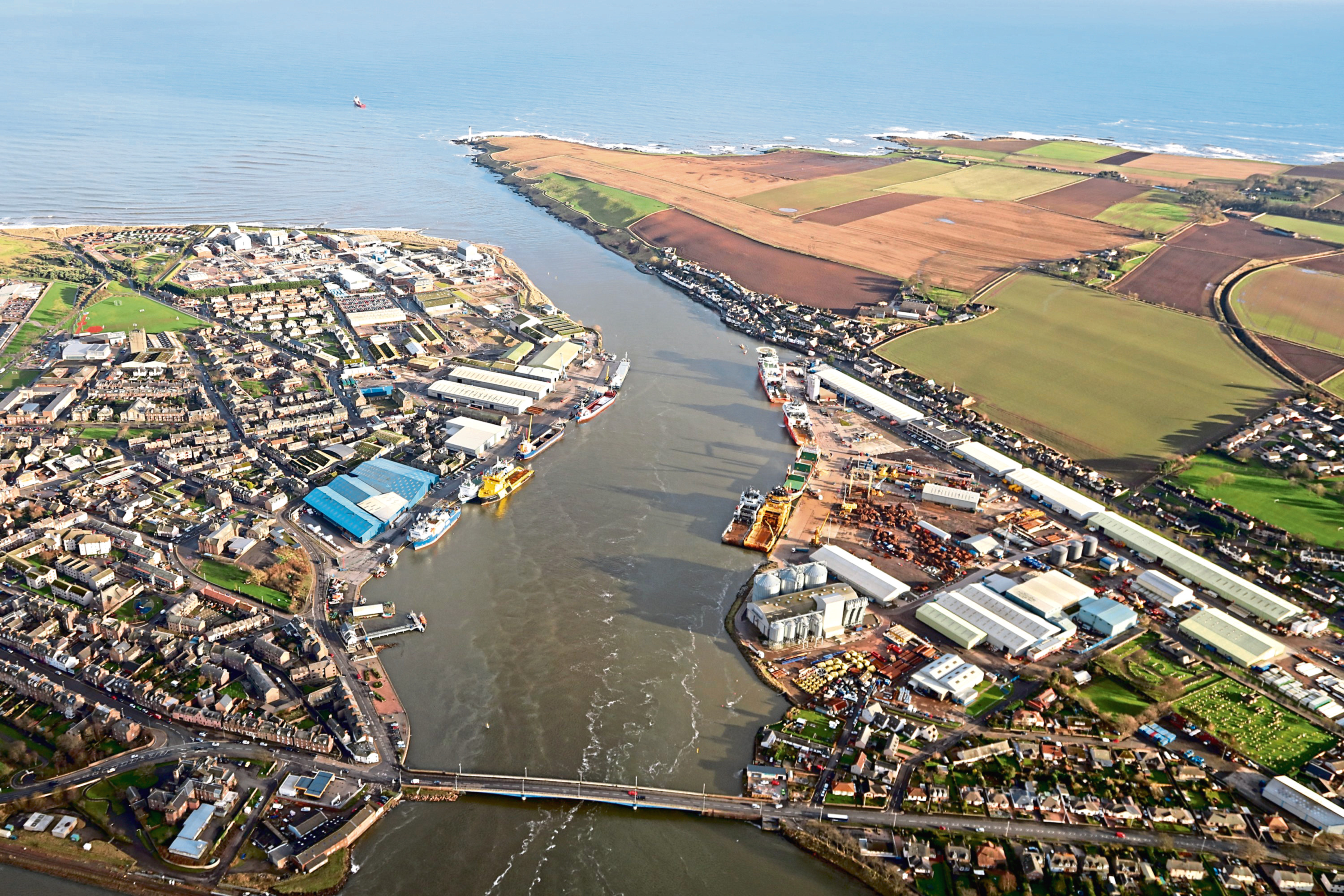 An aerial view of Montrose Port