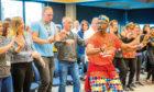 TV's Mr Motivator visits Aviva in Perth to promote healthy living.