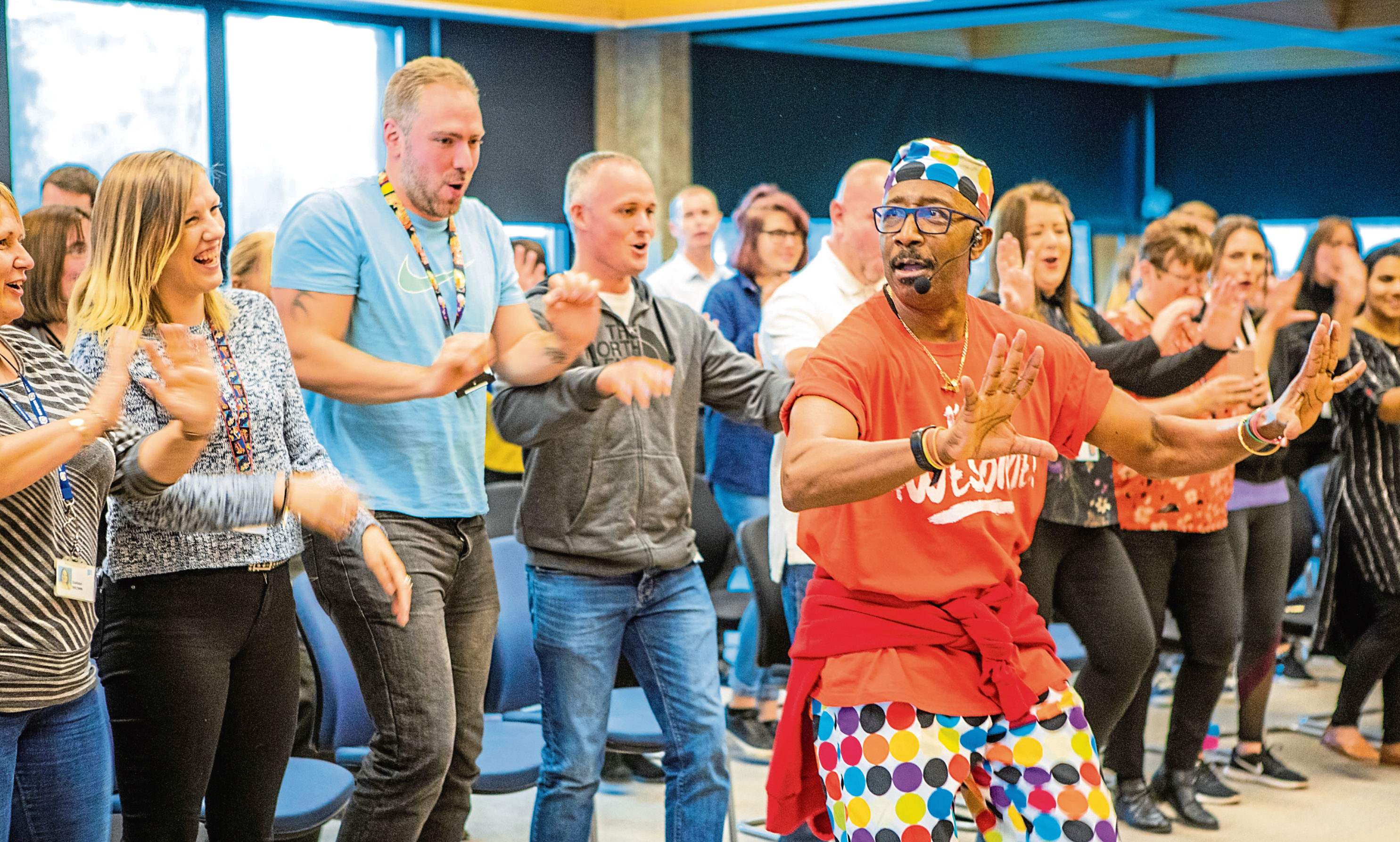 TV's Mr Motivator visits Aviva in Perth to promote healthy living.