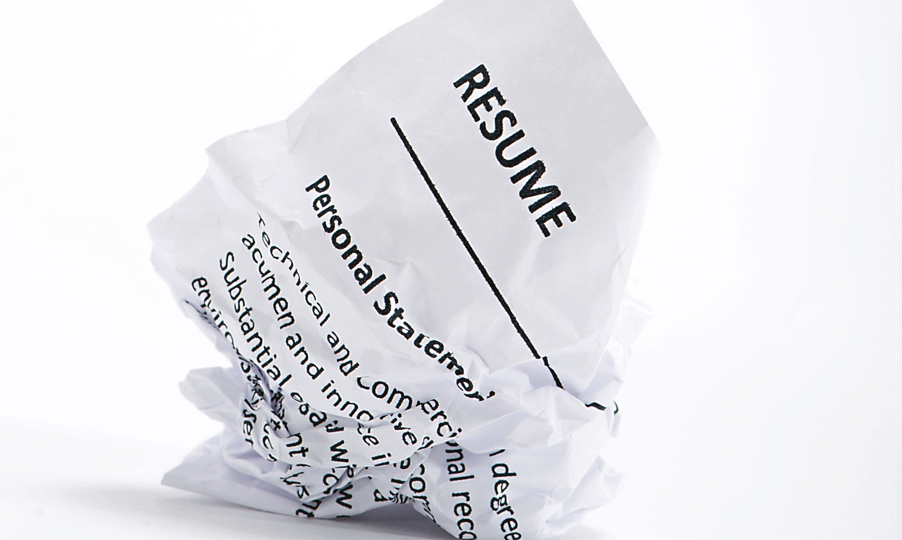 Is a crumpled up resume a sign of the times?