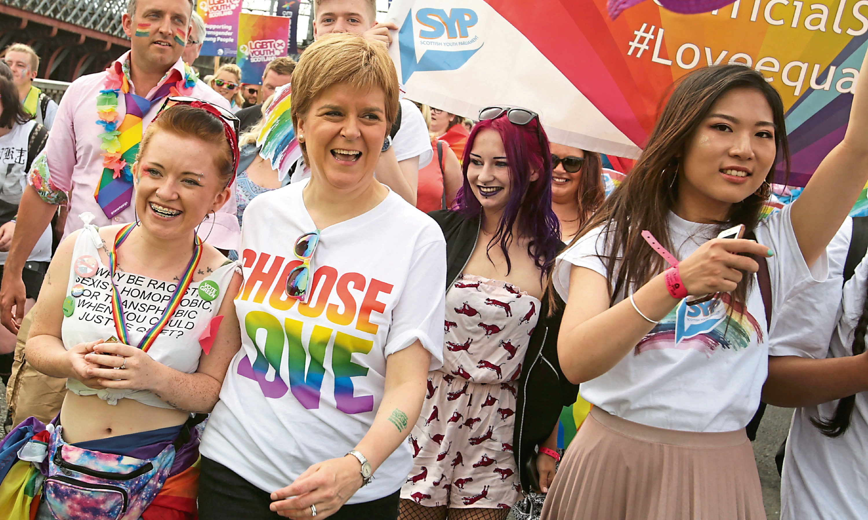 First Minister of Scotland Nicola Sturgeon joins  people taking part in Pride Glasgow