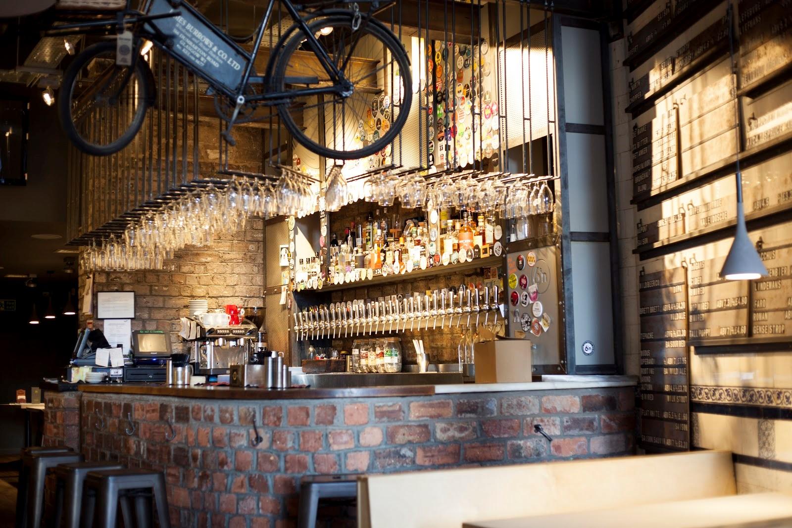 The interior of a Six Degrees North pub.
