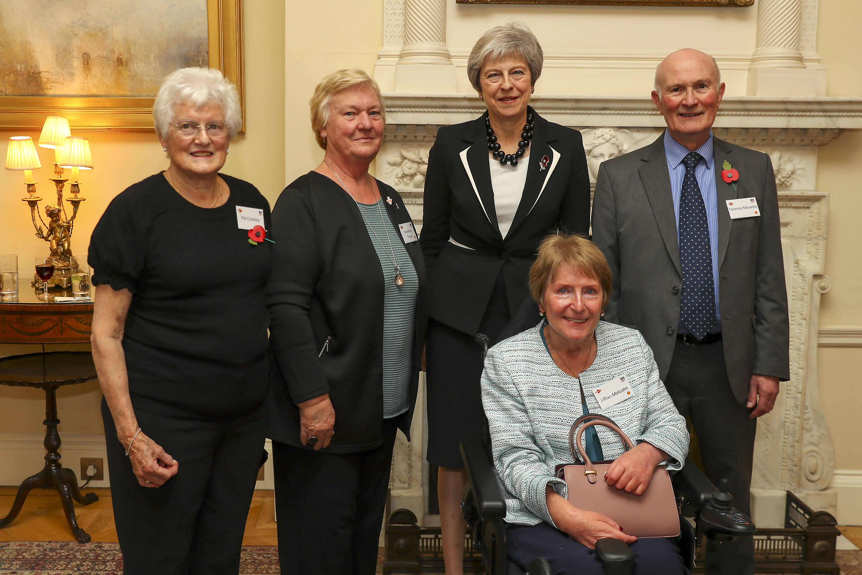 Lillian Malcolm (front row) was personally thanked by the Prime Minister at Downing Street