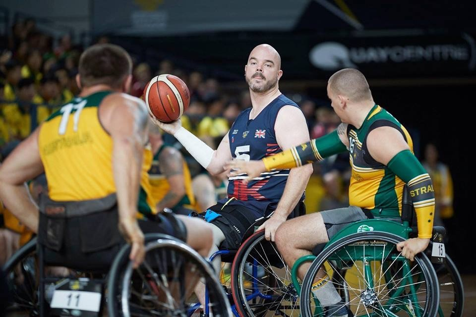 Michael Mellon in action with the wheelchair basketball team. Picture by Theo Cohen.
