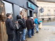Beer fans queuing outside Brewdog an hour before opening.