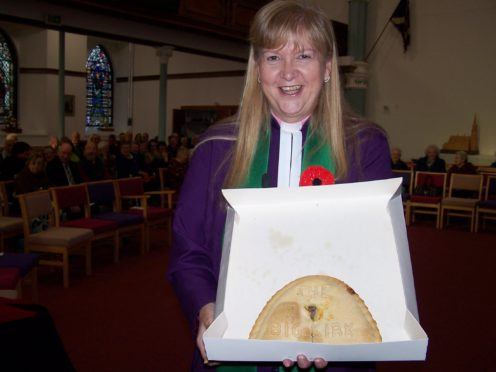 The Rev Barbara Ann Sweetin with The Big Kirk Bridie.