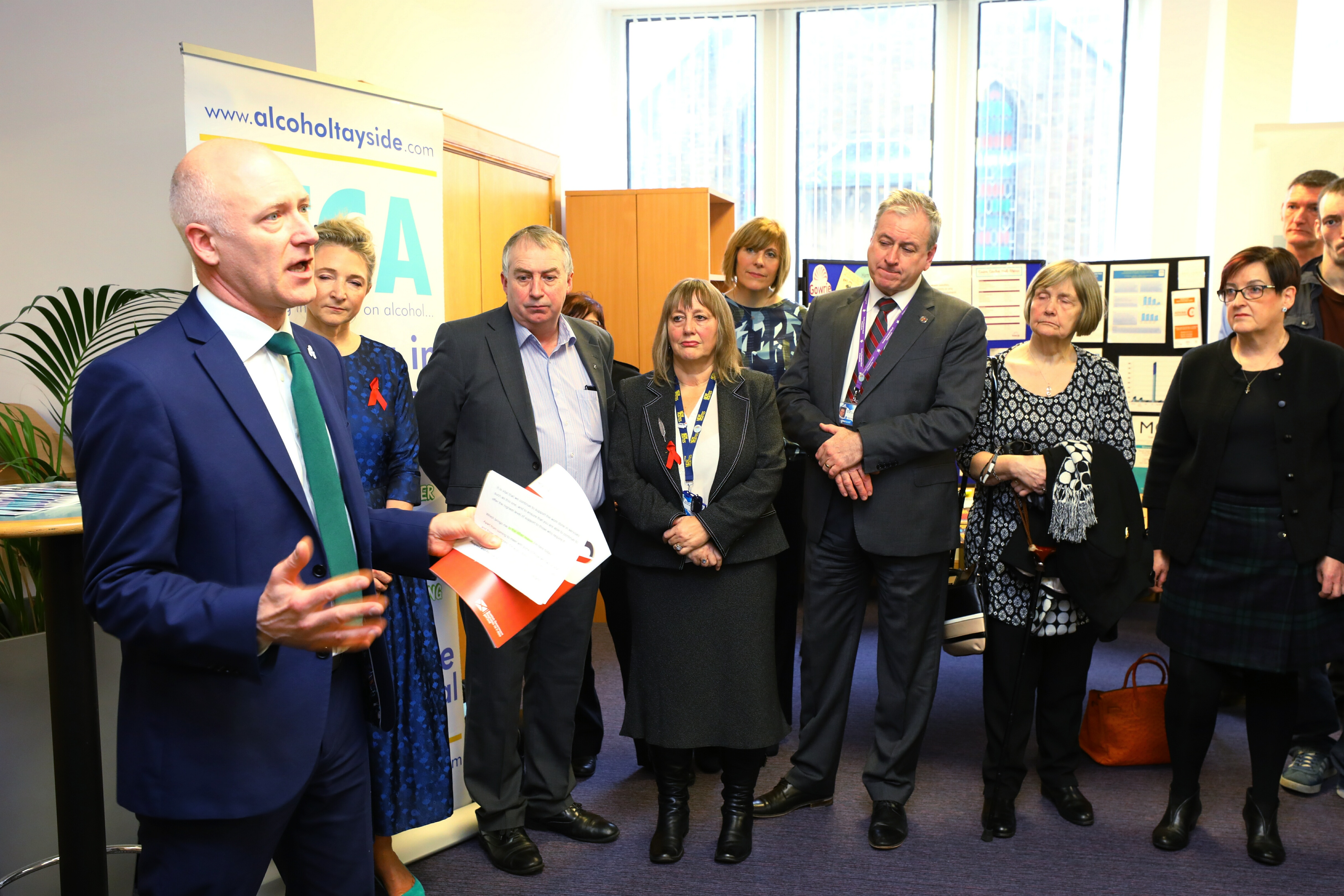 Public Health Minister Joe FitzPatrick MSP at the Cairn Centre in Dundee, launching the new alcohol and drugs strategy Rights, Respect and Recovery.