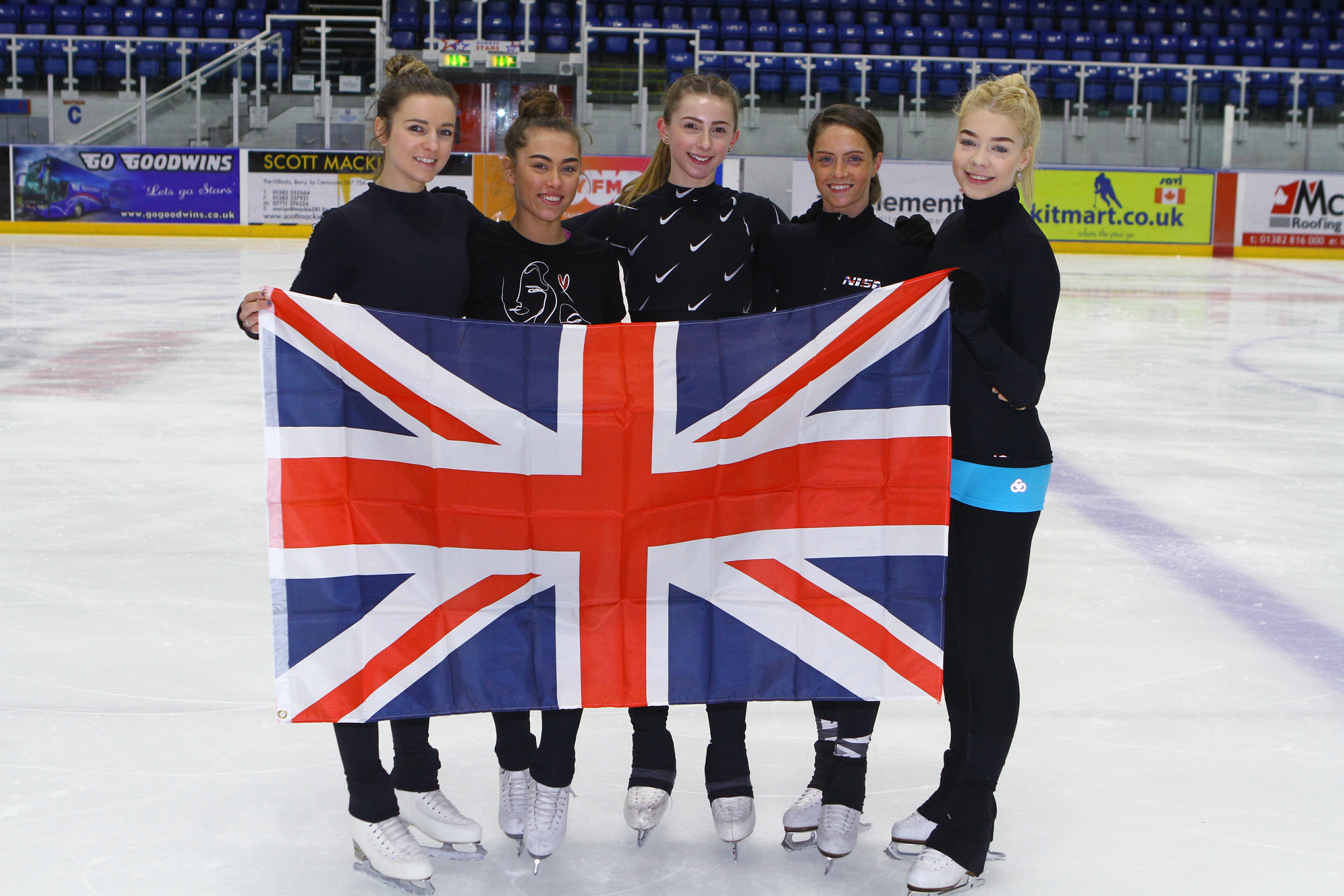 Five of the Dundee skaters who will be taking part in the national championships.