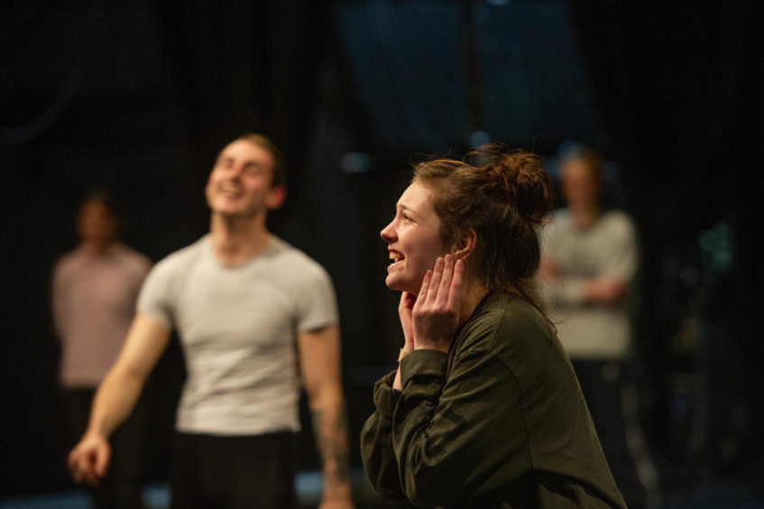 Dundee and Angus College, 2nd year HNC Contemporary Dance project rehearsals leading to a show delivering health and welfare message to secondary school pupils.