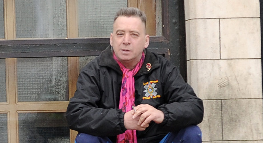 Shri Devi Hailes, also known as James Wells, who stalked Roger Mullin MP pictured outside Kirkcaldy Sheriff Court.