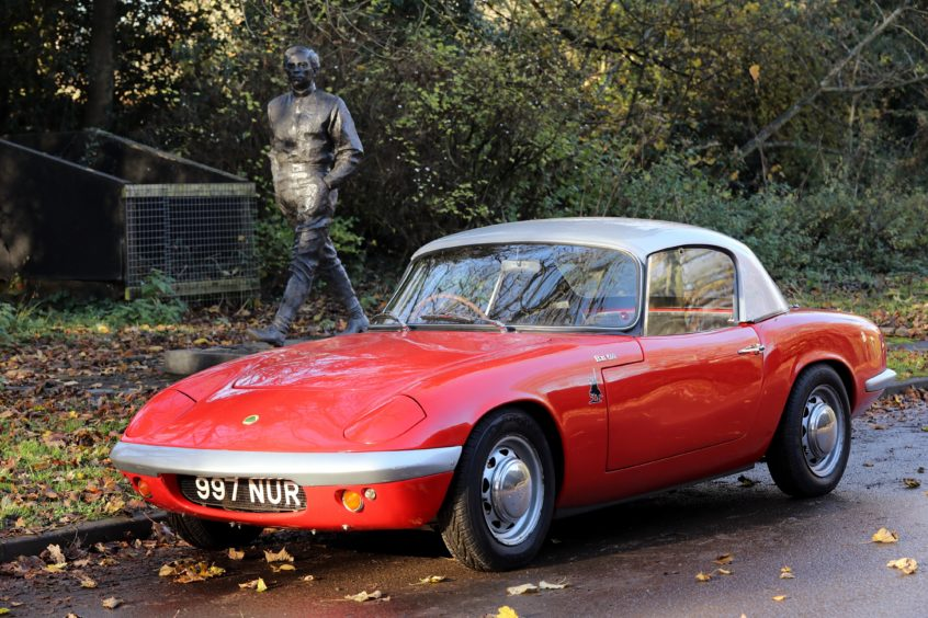 Clark's original 1962 Lotus Elan at his Kilmany birthplace memorial.