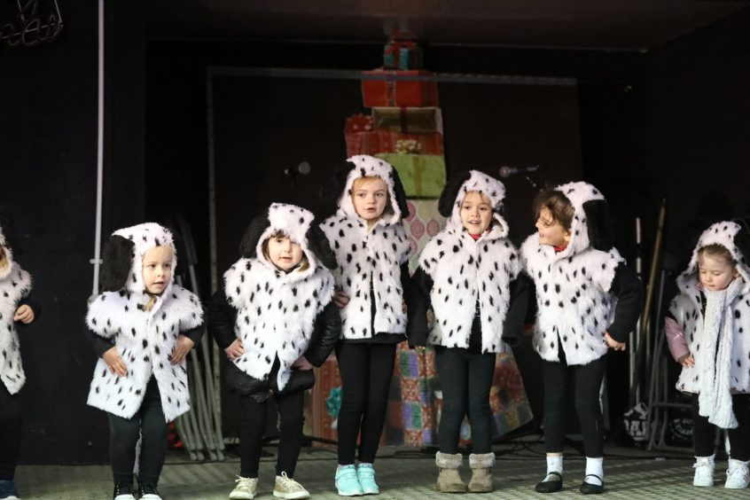 The Monifieth xmas lights switch on over the weekend.   Ultra Dance Dundee on stage
