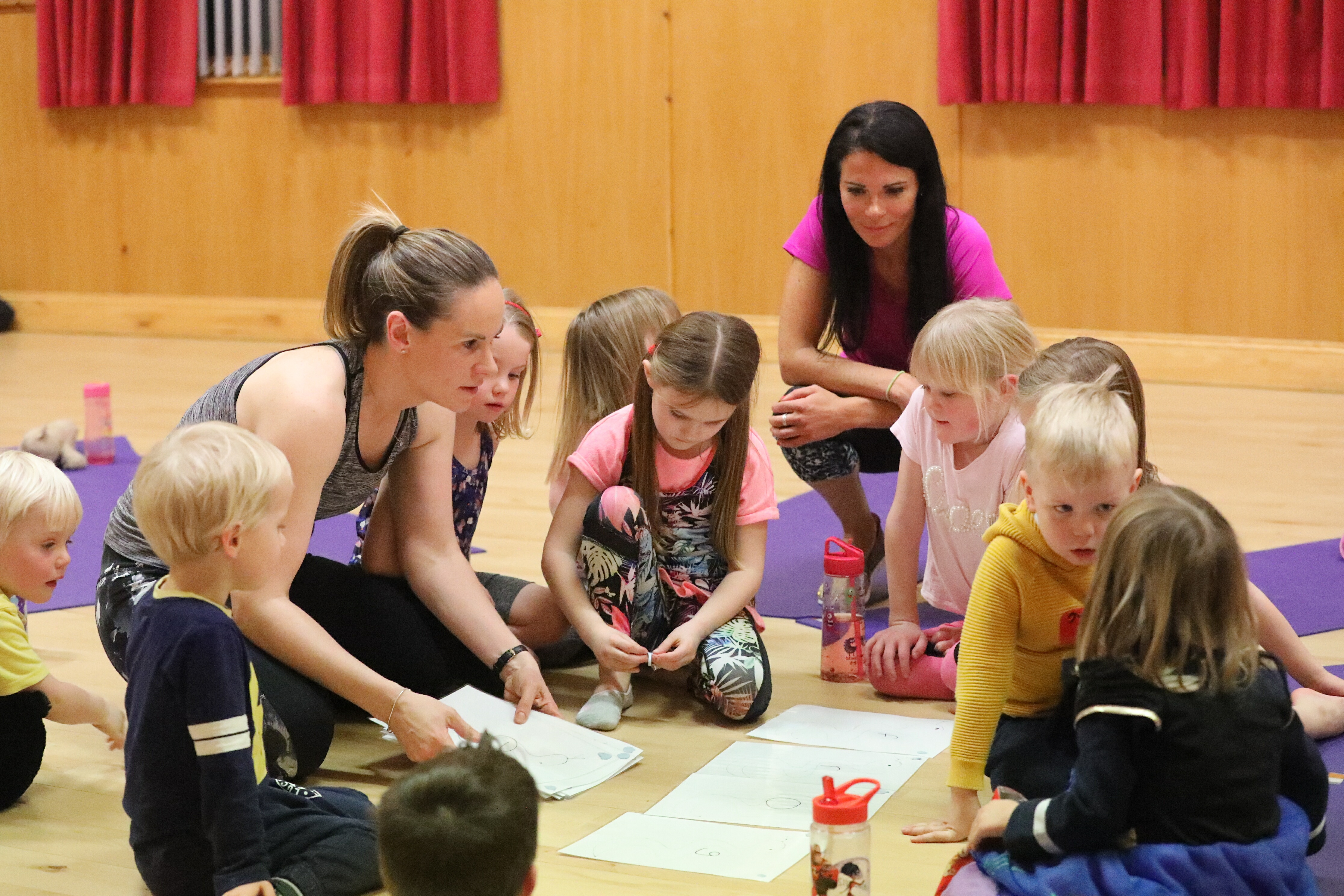 Gayle joins in a children's yoga class run by Linda Mackie ikn Wellbank Village Hall in Angus.