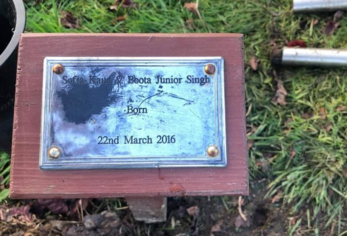 Mary Kaur's babies' plaque was damaged and dumped