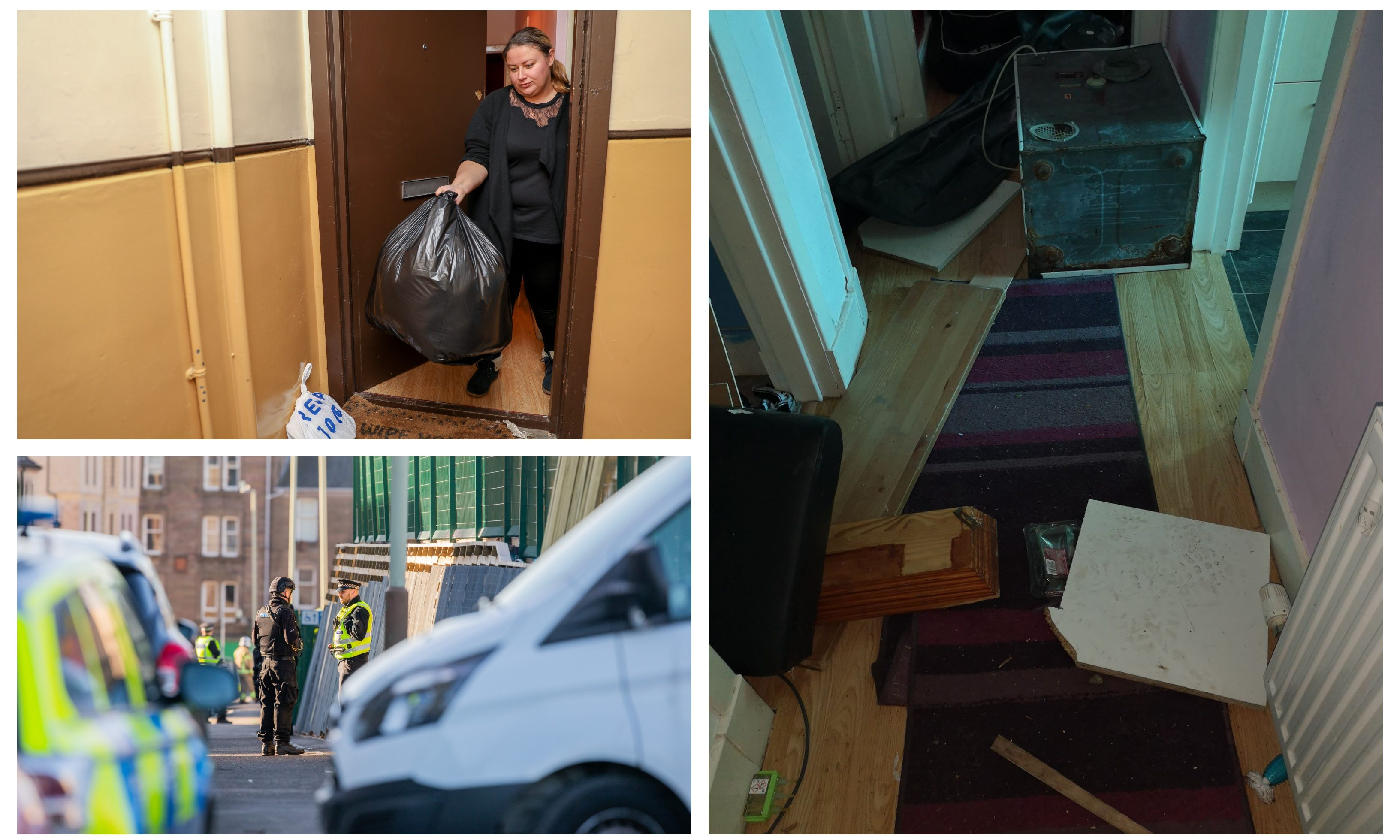 Patrycja Wieczorek with a bin bag full of debris she has had to throw out after her home was trashed. Bottom left: Emergency services at the scene of the incident in the Hilltown.