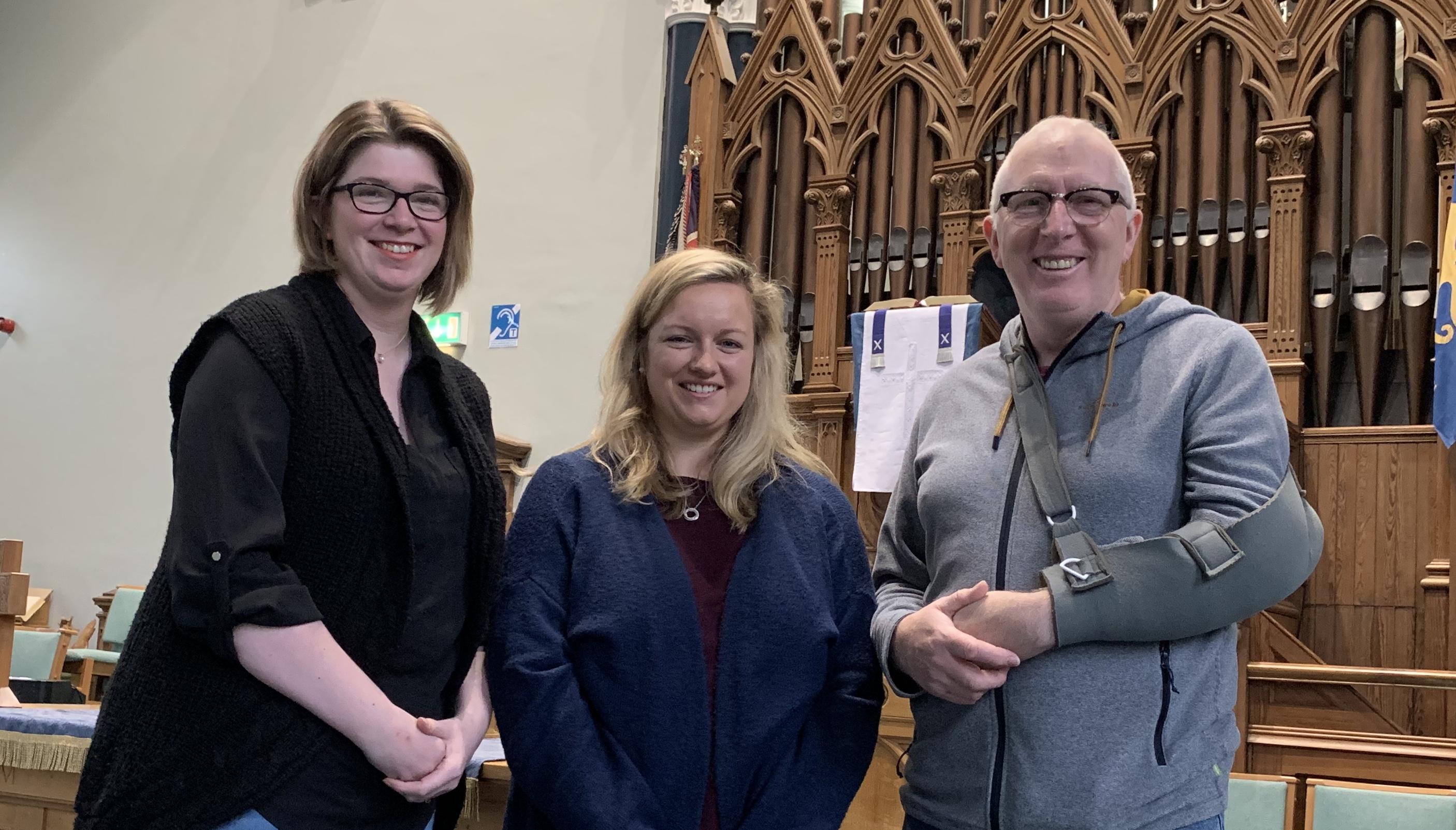 From left: Amanda Logan, member of the St. Andrew's Church mental health working group, Gayle Gabe, community fundraiser SAMH, Martin Fair, minister St. Andrew's Church