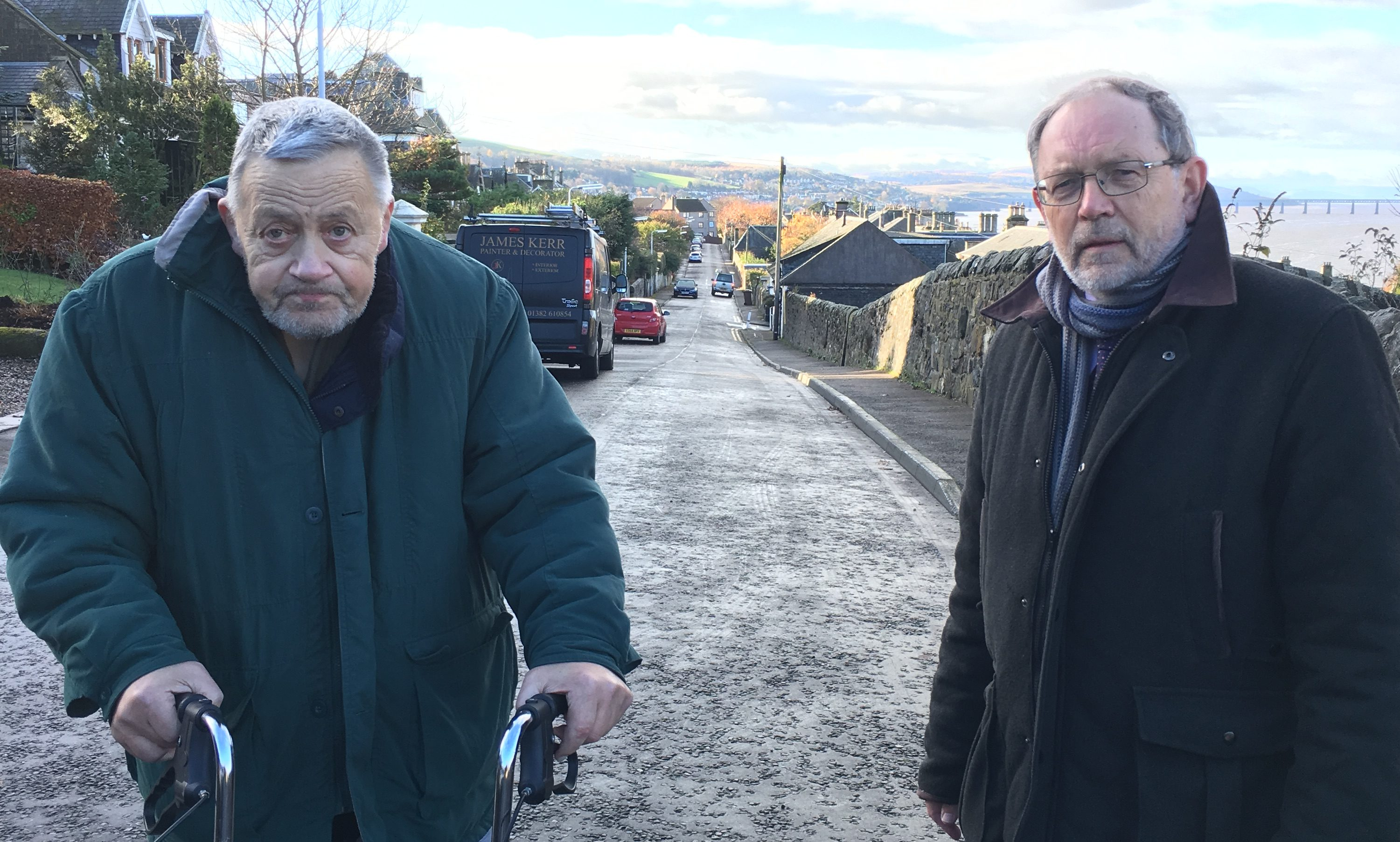 Brian Leighton, with Cllr Tim Brett, is worried about the removal of a grit bin from his Newport street