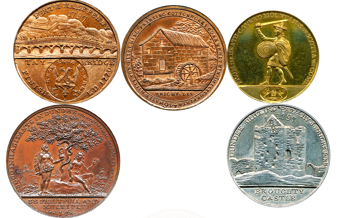 """Examples of the """"industrial design"""" coins created by James Wright, father of Frances Wright."""