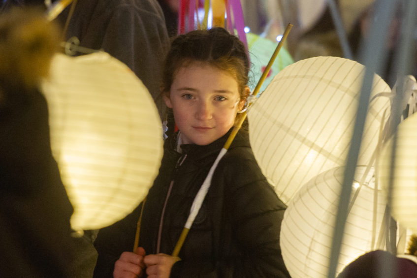 The lantern carriers wait for the start of the torchlit procession, High School of Dundee, Albert Square, Dundee, 17th November 2018. Pic by Kim Cessford / DCT Media